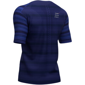 Compressport Racing Camiseta Manga Corta, blue (stripes)